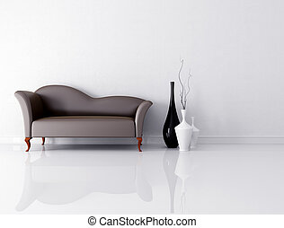 brown couch in a white room