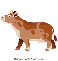brown cow from the farm, flat, isolated object on a white background, vector illustration,