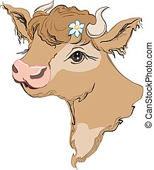 Brown cow head with a flower