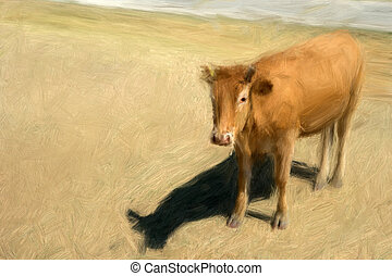 Brown cow - Painting of brown cow in sunny pasture