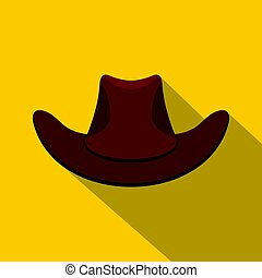 Brown cowboy hat icon, flat style
