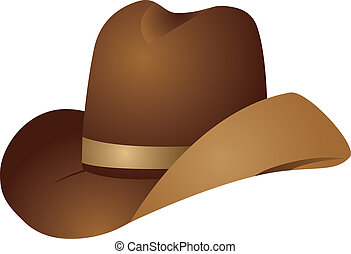 Brown cowboy hat - Illustration of brown cowboy hat on white...