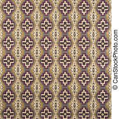 Brown, Cream, Purple Cross Pattern Wallpaper Swatch