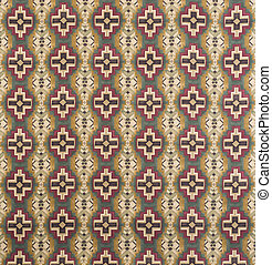Brown, Cream, Red Cross Pattern Wallpaper Swatch