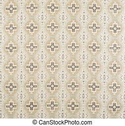 Brown, Cream, Yellow Cross Pattern Wallpaper Swatch