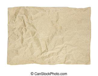 Brown crumpled paper texture on white background.