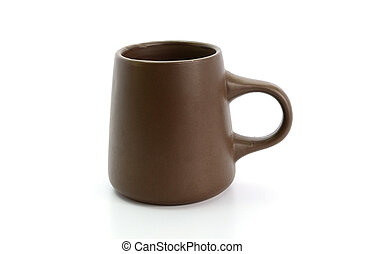 brown cup on a white background