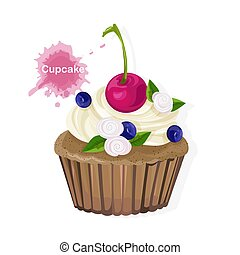 Brown cupcake with white cream ornaments, cherry, blueberries and flowers