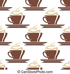 Brown cups of hot coffee seamless pattern