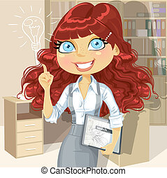 Brown curly hair girl with electronic tablet inspiration idea in office