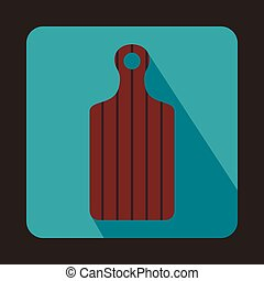 Brown cutting board icon, flat style