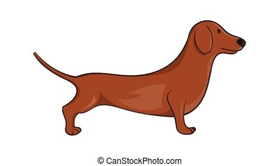 Brown dachshund dog icon animation cartoon best object isolated on white background