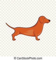 Brown dachshund dog icon, cartoon style