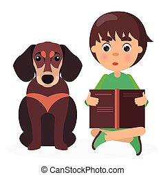 Brown Dachshund with Reading Boy Closeup on White