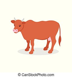 Brown dairy cow, farm animal vector Illustration on a white ...