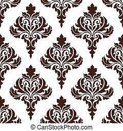 Brown damask seamless pattern background