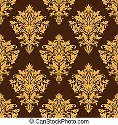 Brown damask seamless pattern