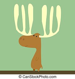 Brown deer, illustration, vector on white background.