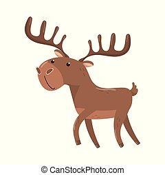 Brown deer with antlers woodland cartoon animal vector...