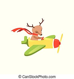 Brown deer with scarf on neck flying on little airplane. Cartoon character of funny aircraft pilot. Flat vector design for children book or postcard