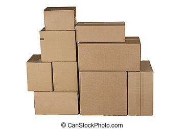different cardboard boxes arranged in stack - Brown ...