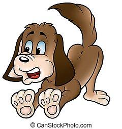 Brown Dog - colored cartoon illustration, vector