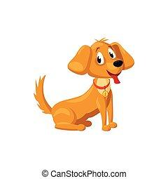 Brown dog icon, cartoon style