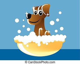 brown dog in bathtub