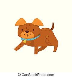 Brown dog lying on the floor, cute domestic pet animal cartoon character vector Illustration on a white background