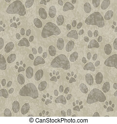 Brown Dog Paw Prints Tile Pattern Repeat Background that is...