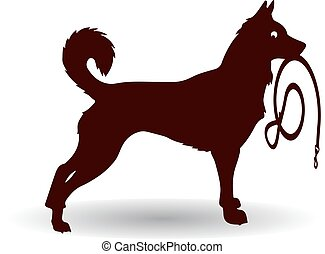 Brown Dog Silhouette, keeps leash, on white background.