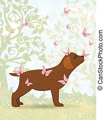brown dog with butterflies for your design