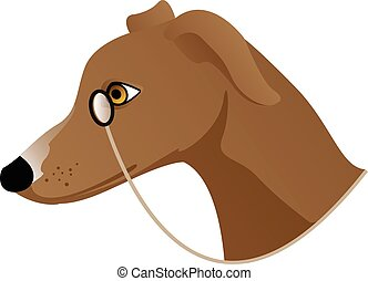brown dog with monocle
