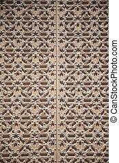 brown door of cathedral detail