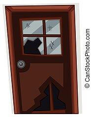 Brown door with broken window