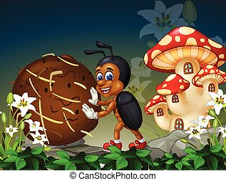 Brown Dung Beetle in Forest With White Ivy Flowers and Red White Mushroom House Cartoon