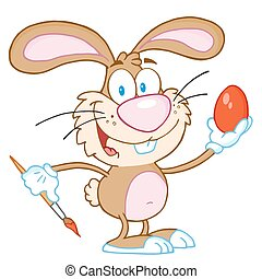 Brown Easter Bunny Painting An Egg