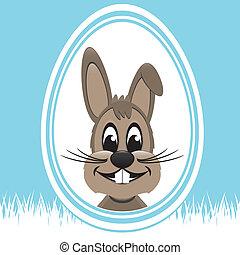 brown easter bunny white egg