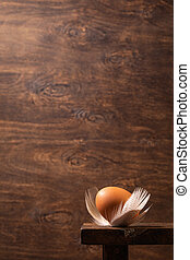 Brown egg with feathers on rustic wooden background