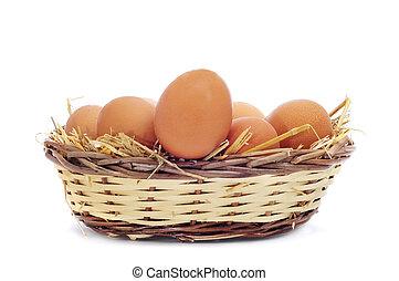brown eggs in a basket