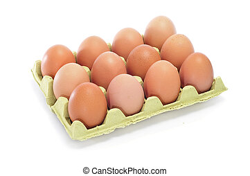 eggs - brown eggs in an egg carton on a white background