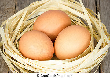 Brown eggs in the nest