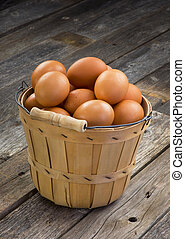 Brown Eggs. - Basket full of eggs with room for your type.