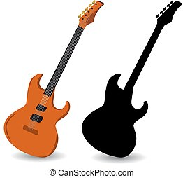 Brown electric guitar and black guitar silhouette, on white background.