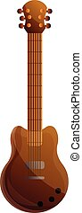 Brown electric guitar icon, cartoon style