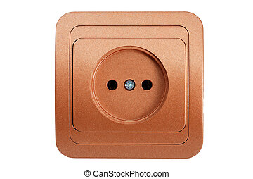 brown electric socket isolated on a white background