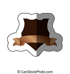 brown emblem design with ribbon icon