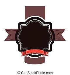 brown emblem with red ribbon and symbols icon