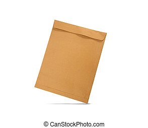 Brown envelope isolated on white background with clipping path.