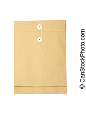 brown Envelope Isolated on White Background.